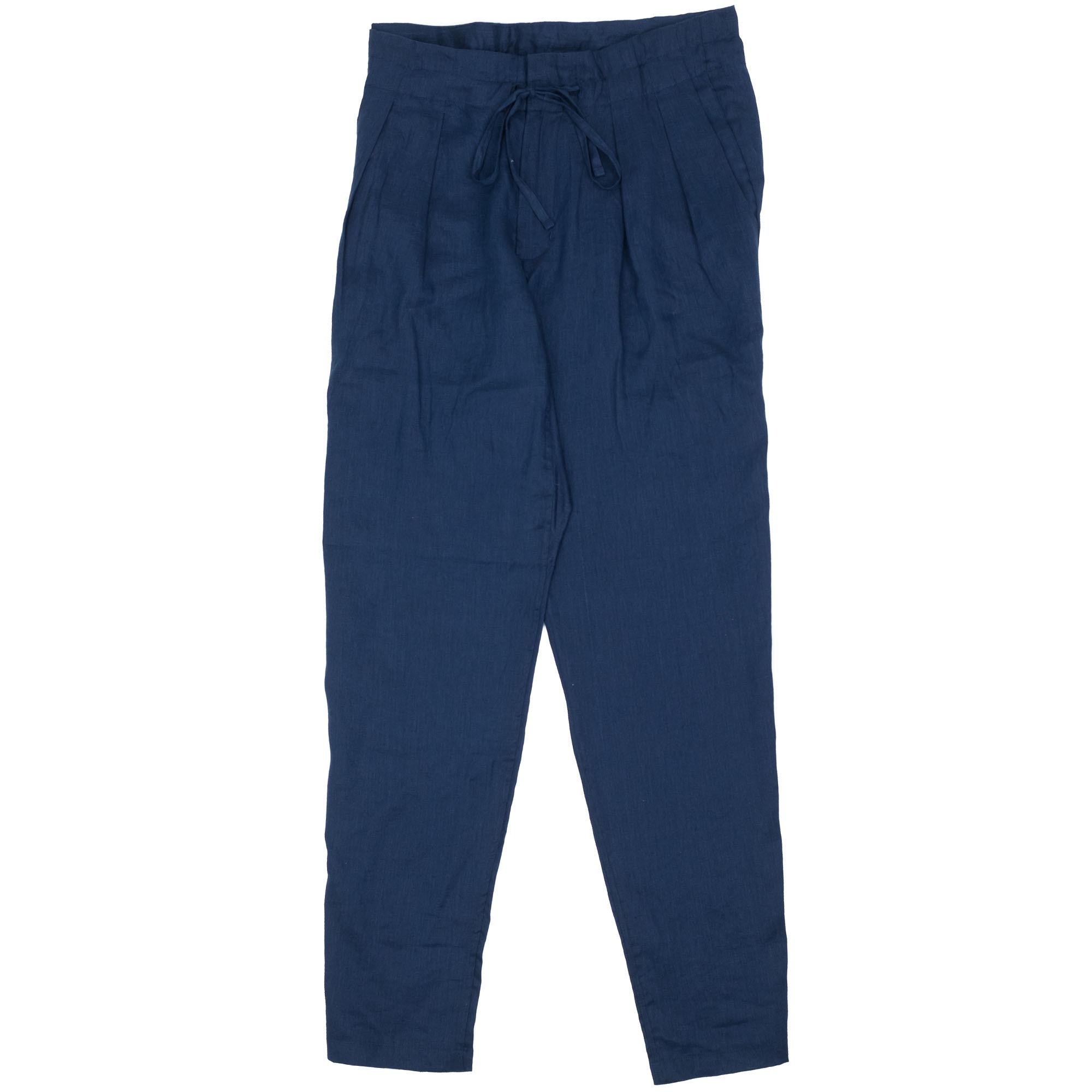 Drop Crotch Pants Linen Navy 1