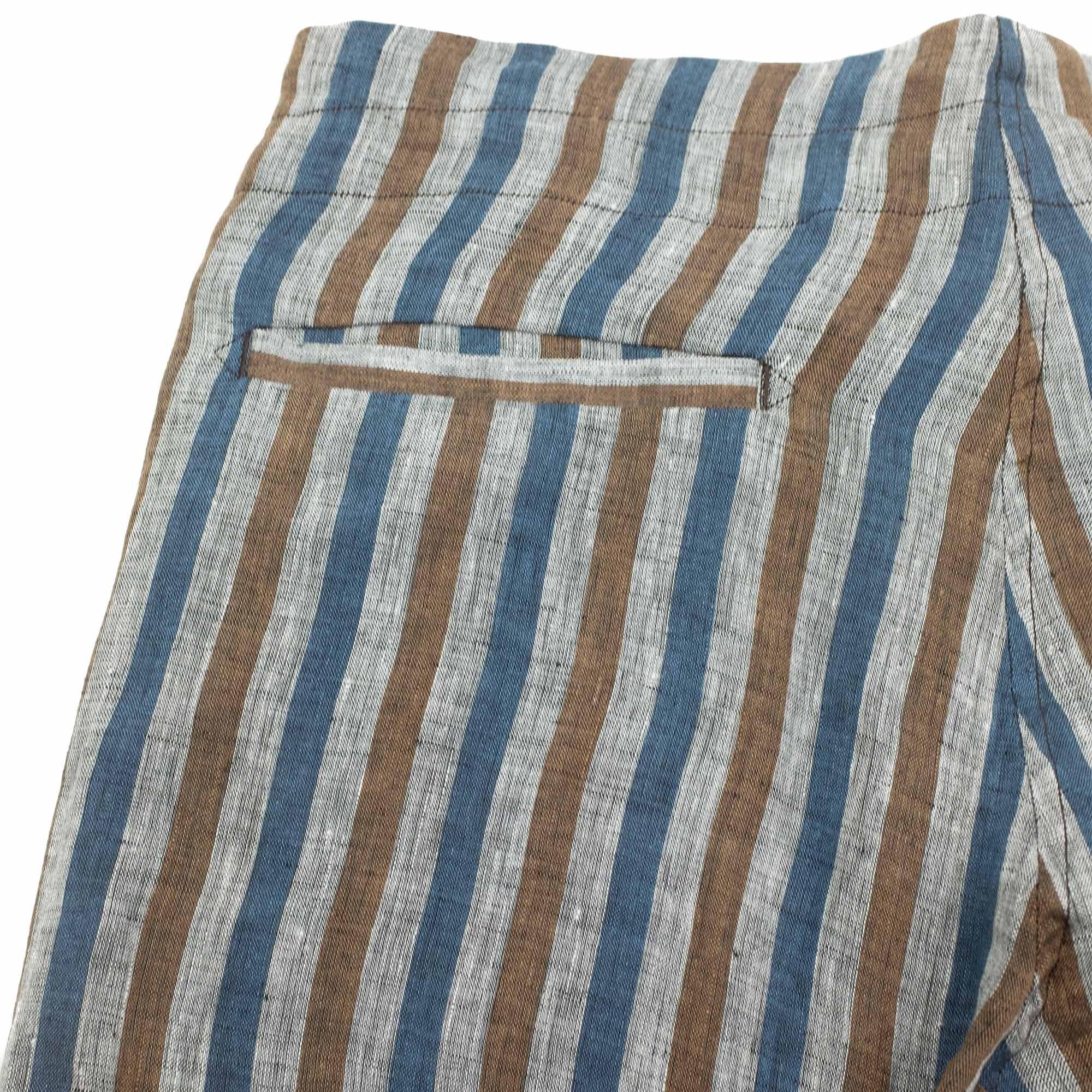 Monitaly Drop Crotch Pants - Lt Linen Stripe