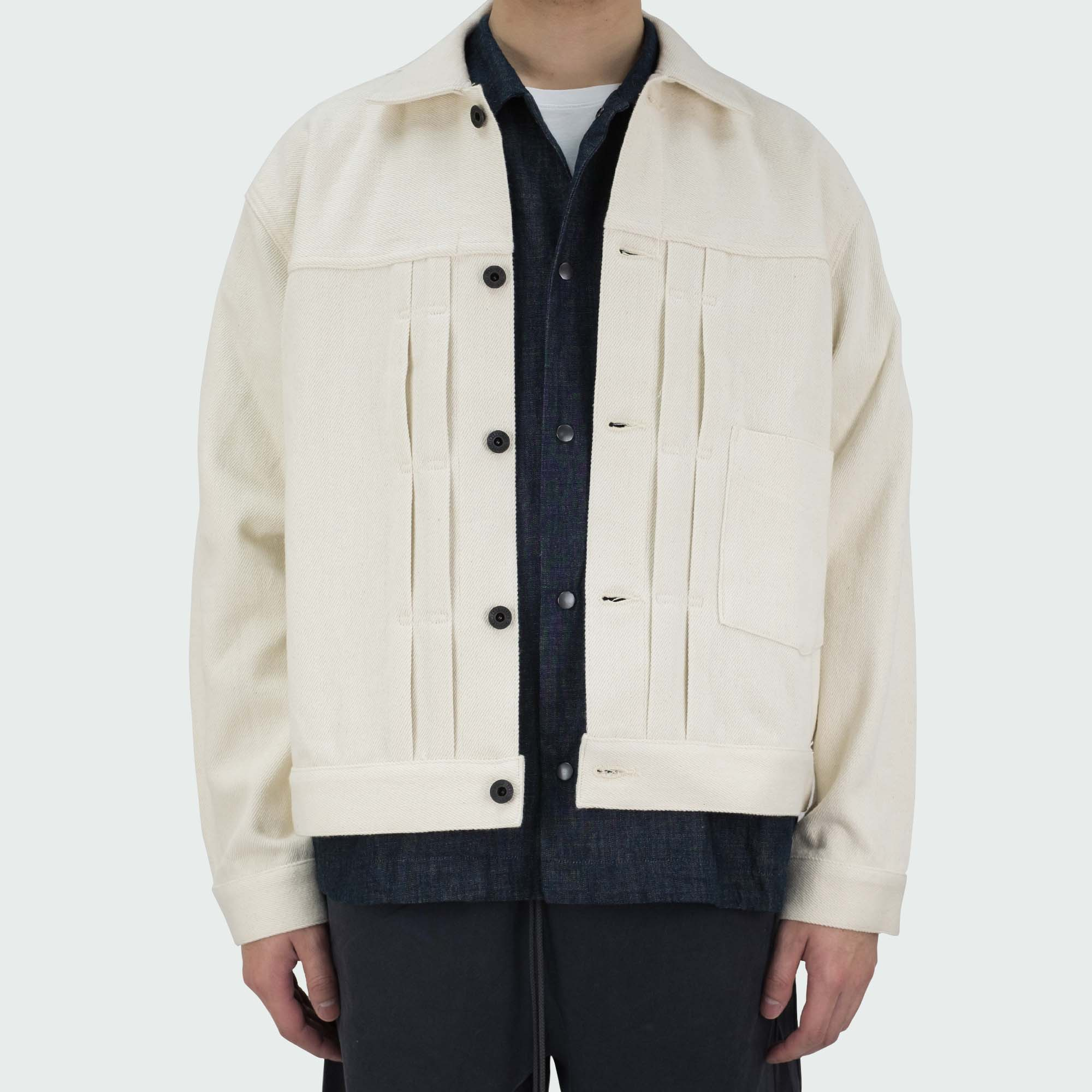 Kuro Loose Denim Big Jacket One Wash - Off White
