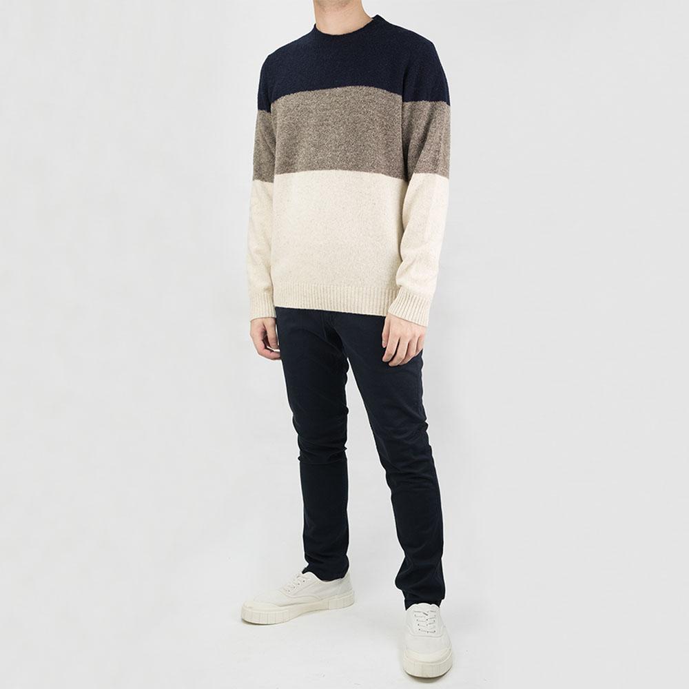 NN07 Ed Block Wool Sweater - Navy Block