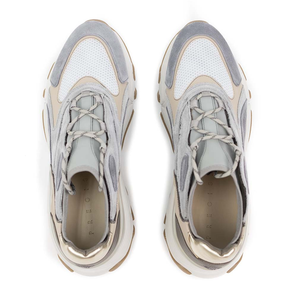 PREGIS Ainsley Leather Runner Sneaker - Grey Beige