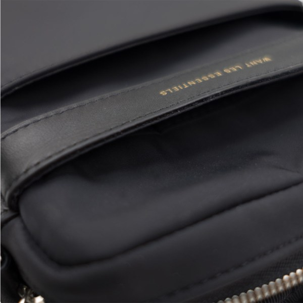 WANT Les Essentiels Reagan Crossbody Pouch - Black Nylon/ Black Leather Trims