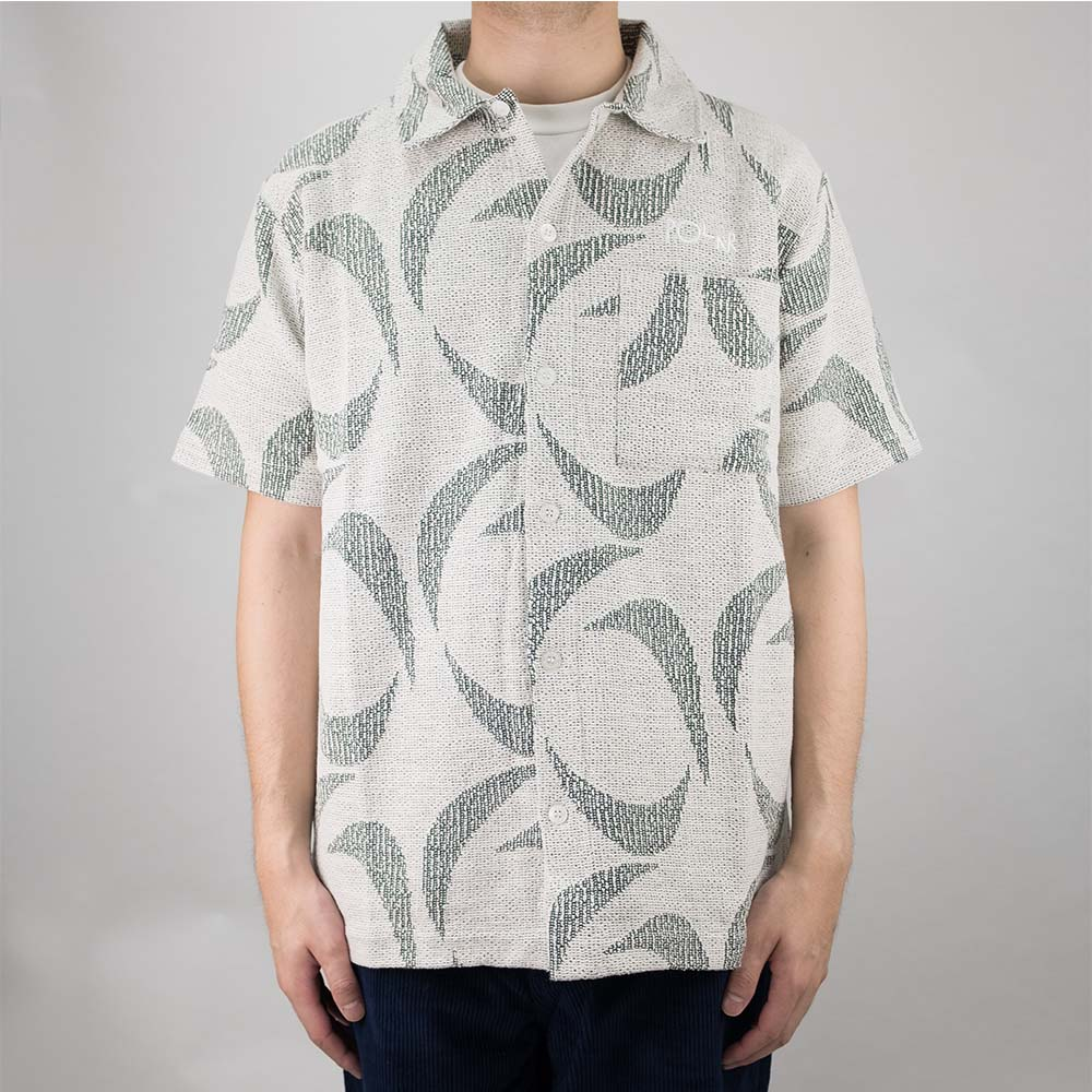 Polar Skate Co. Patterned Polo Shirt - Ivory/Dark Green