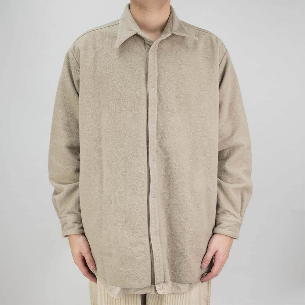 Kuro Cotton Fleece Shirt Coat - Beige