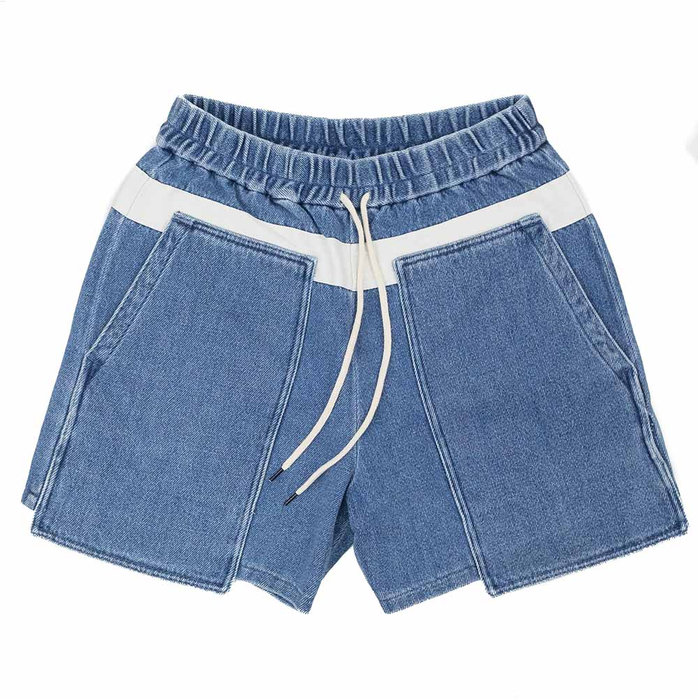 Kuro Loose Denim Baker Shorts - Faded Indigo