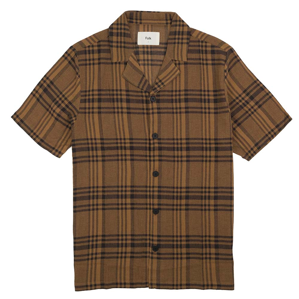 Folk SS Soft Collar Shirt - Teak Overdyed Crepe Check