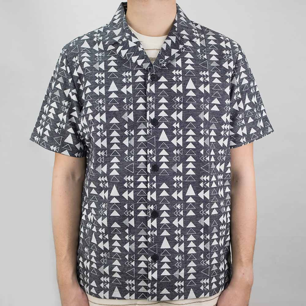 Folk SS Soft Collar Shirt - Tile Print White