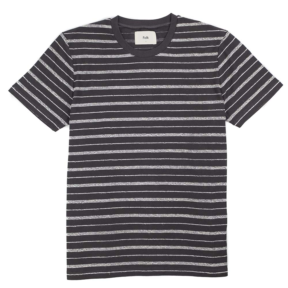 Folk SS Textured Stripe Tee - Charcoal Ecru