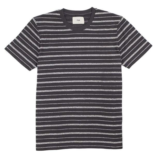 Folk SS Textured Stripe Tee - Charcoal Ecru