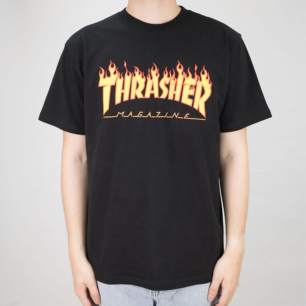 Thrasher (Japan) Burning Over S/S Pocket T-Shirt - Black