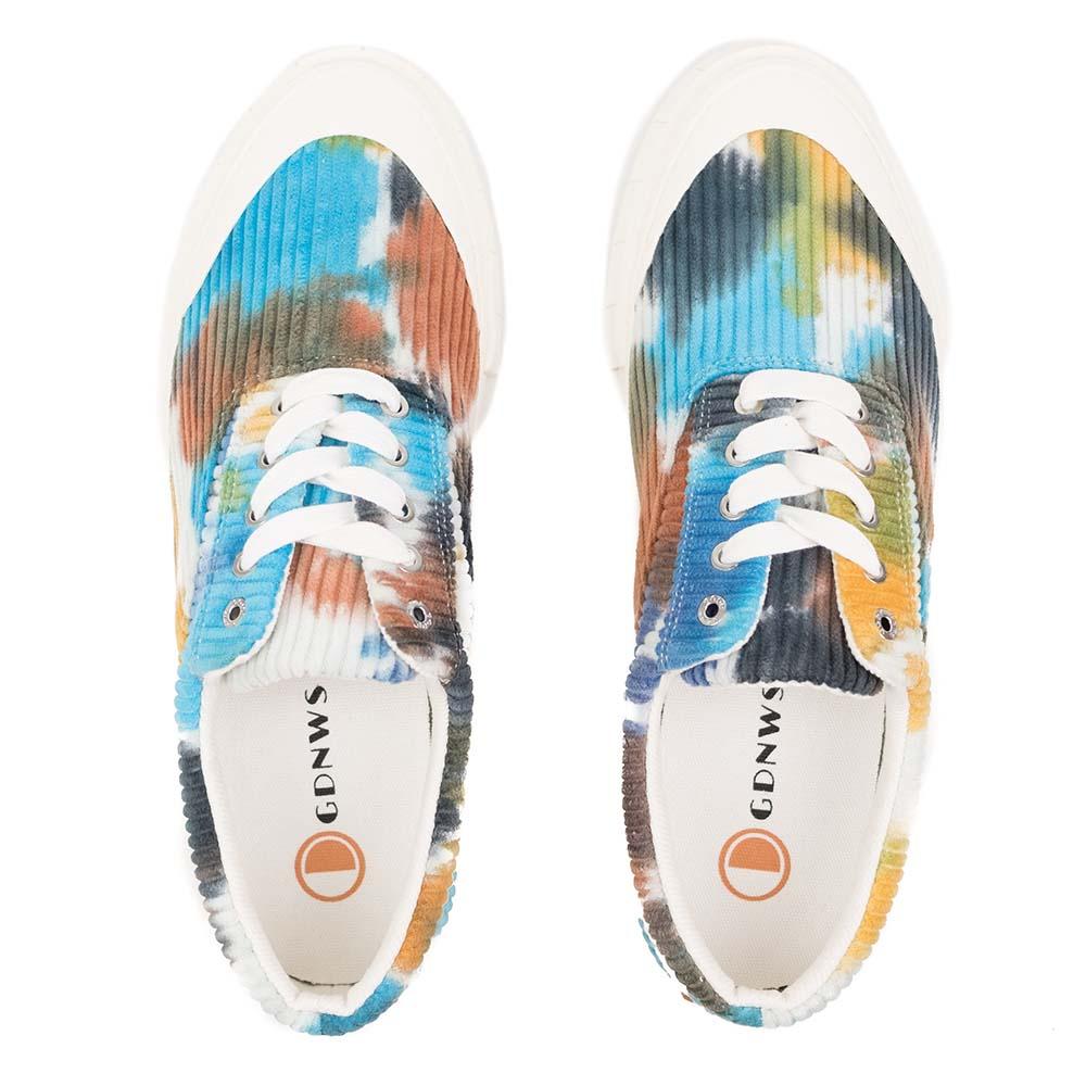 Good News Opal Tie Dye Corduroy Sneaker - Navy / Brown