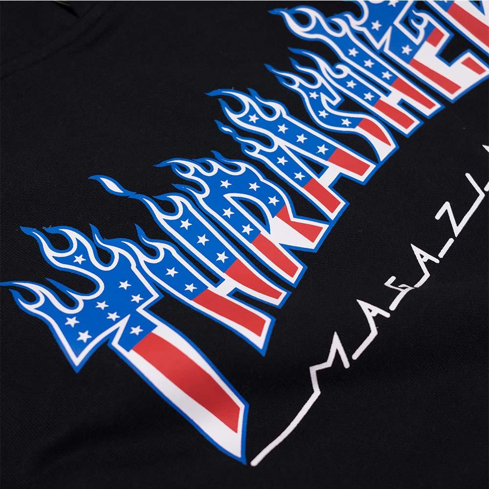 Thrasher (Japan) Flame Patriot Hooded Sweatshirt - Black 4