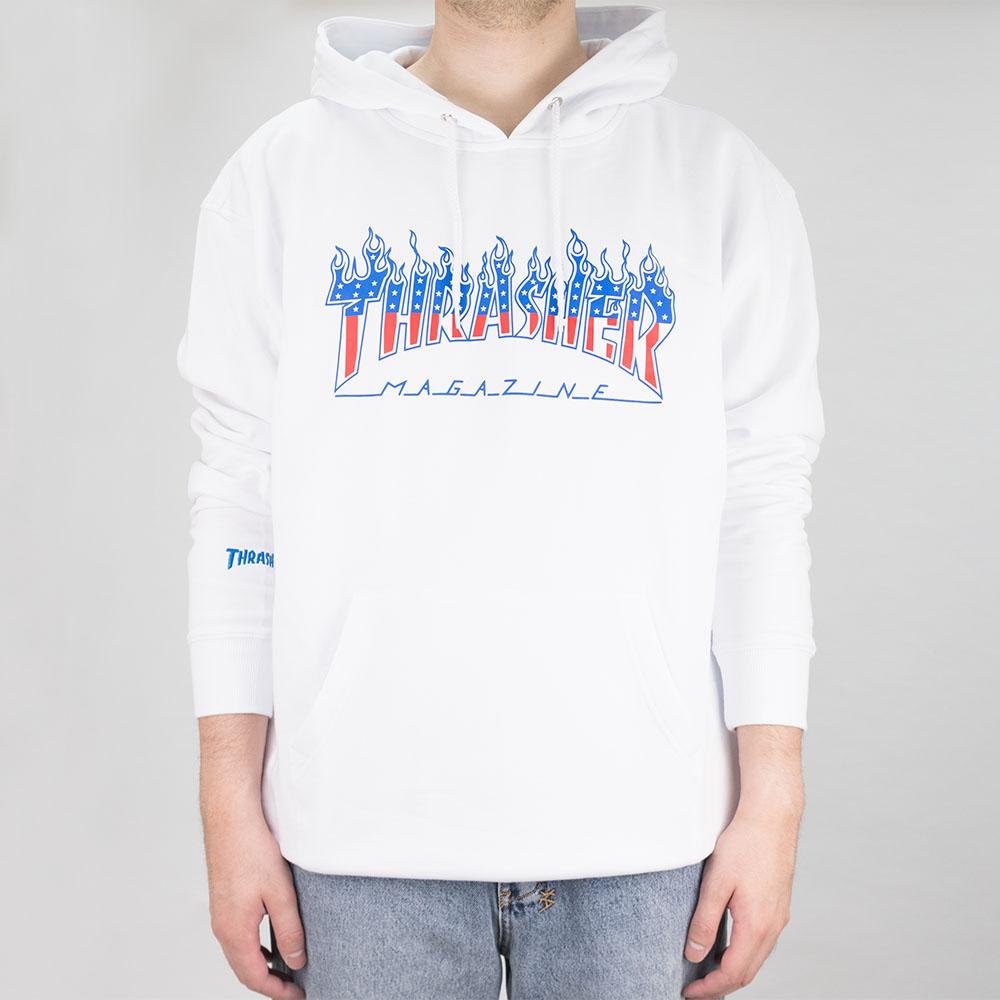 Thrasher (Japan) Flame Patriot Hooded Sweatshirt - White 2