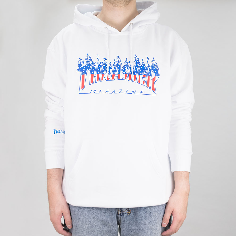 Thrasher (Japan) Flame Patriot Hooded Sweatshirt - White 2