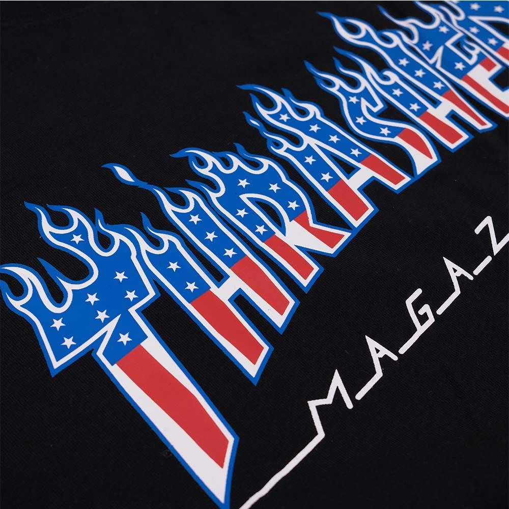 Thrasher (Japan) Flame Patriot S-S T-Shirt - Black 4