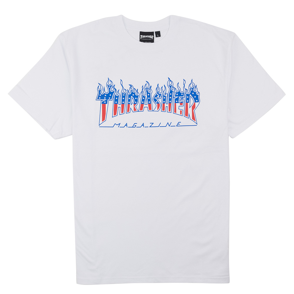 Thrasher (Japan) Flame Patriot S-S T-Shirt - White 1