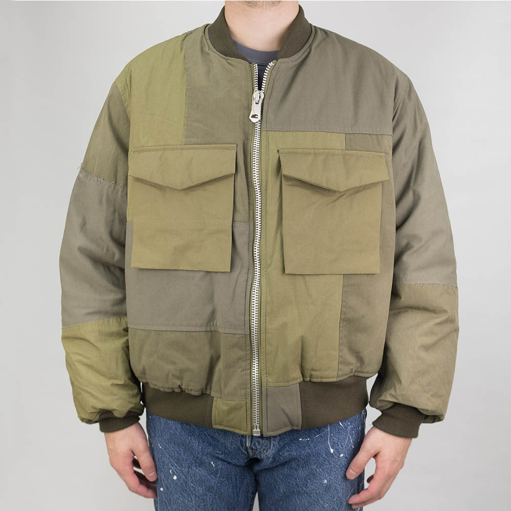 Kuro Military Patchwork Bomber Jacket - Khaki