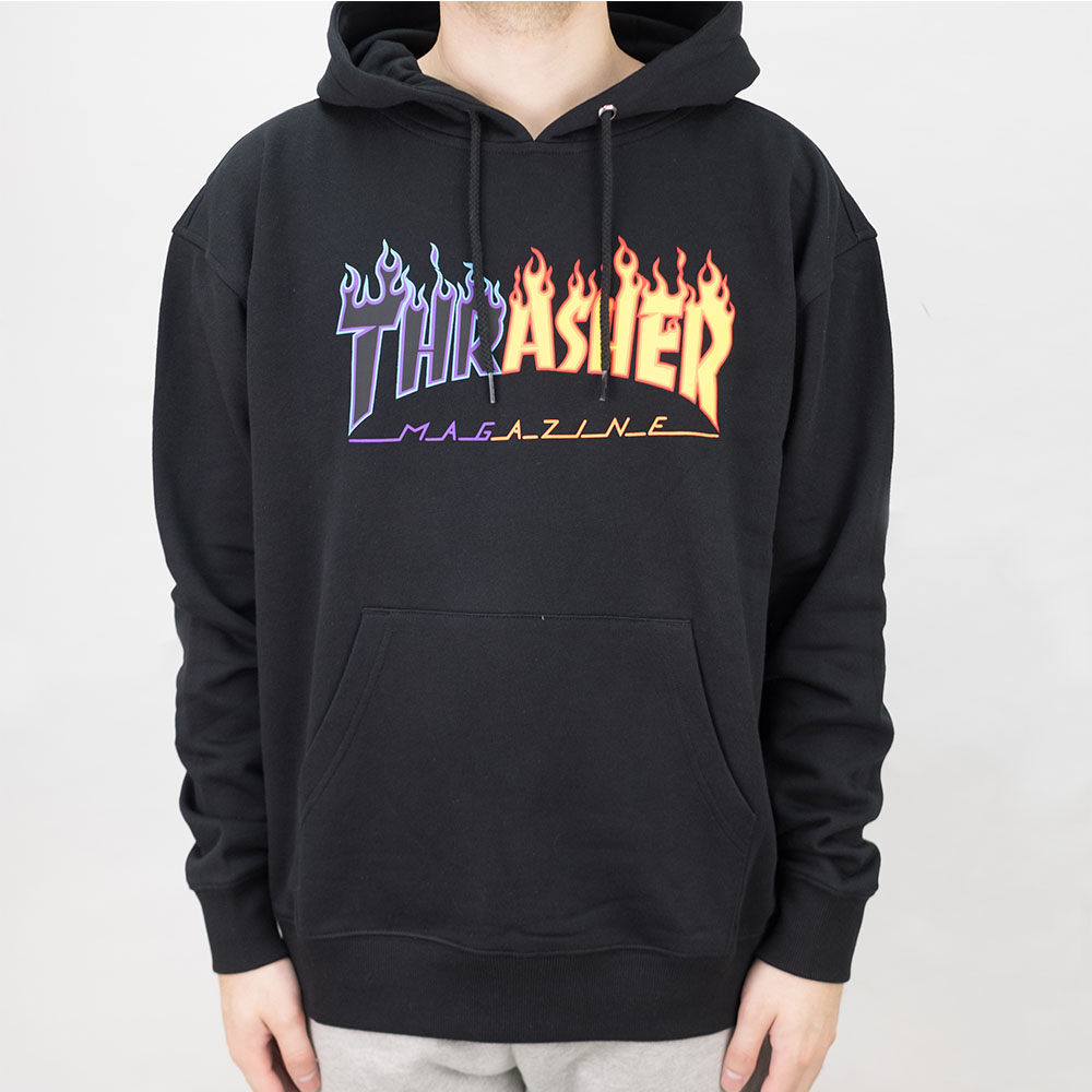 Thrasher (Japan) Reburn Flame Hooded Sweatshirt - Black