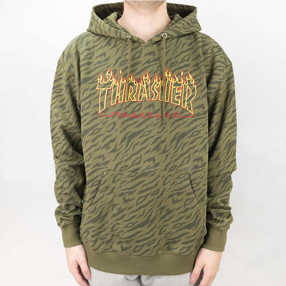 Thrasher (Japan) Tiger Flame Hooded Sweatshirt - Olive