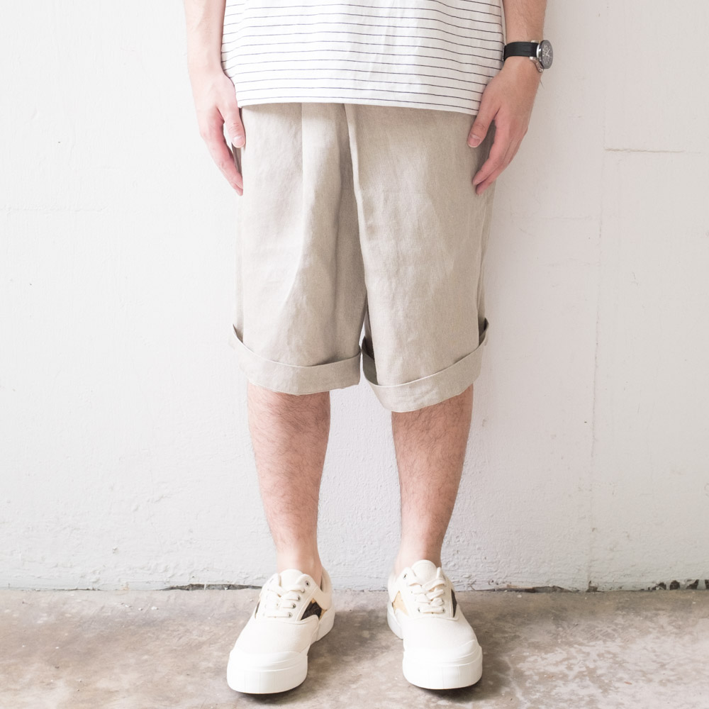 IKIJI Linen Denim HAKAMA Shorts - Light Grey