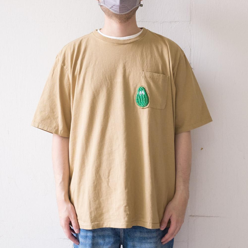 Monitaly 3D Avocado Embroidery Pocket Tee - Khaki