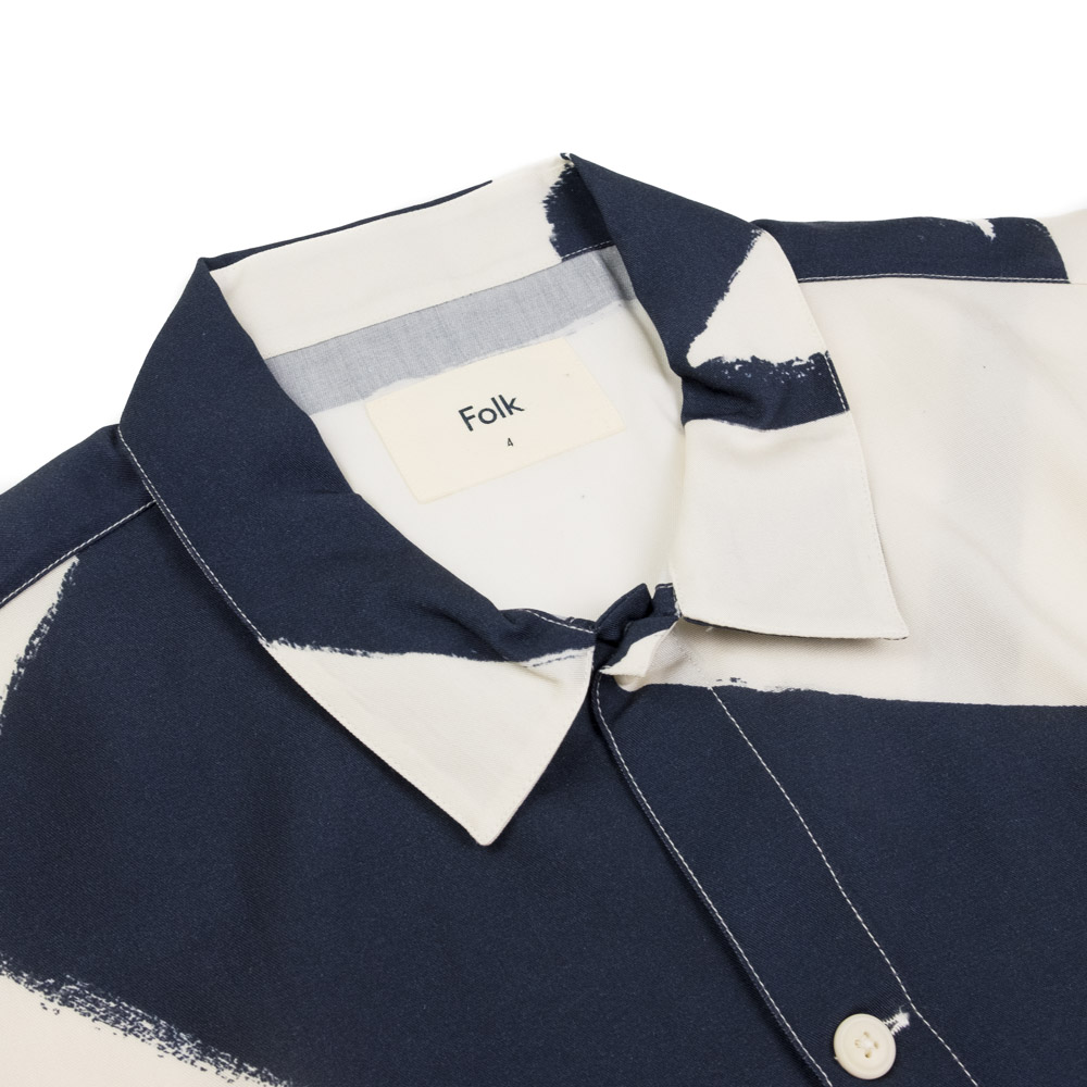 Folk Gabe Shirt - Border Print Navy Ecru