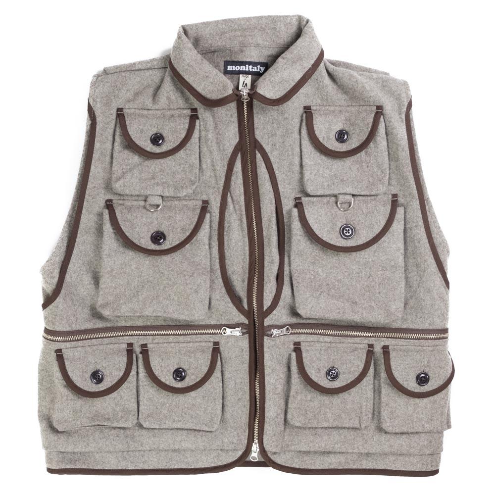 Monitaly Mossy Fishing Vest - Wool Flannel Melange Beige