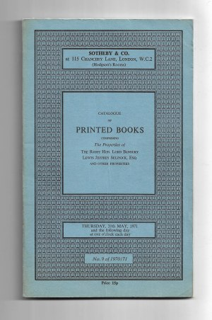 Catalogue of Printed Books Comprising The Properties of The Right Hon. Lord Banbury, Lewis Jeffrey Selznick, Esq. and other properties