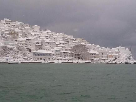 Snow in Skopelos island - Winter 2017
