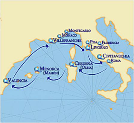 andorreando mapa crucero mediterraneo I