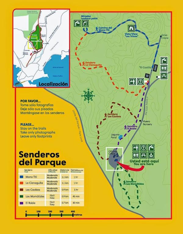Mapa senderos Parque Metropolitano