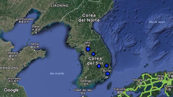 Mapa ruta P.N Songnisan, Daegu, Gyeongju, Busan