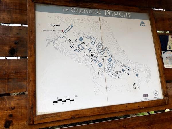 Mapa ciudad de Iximché.