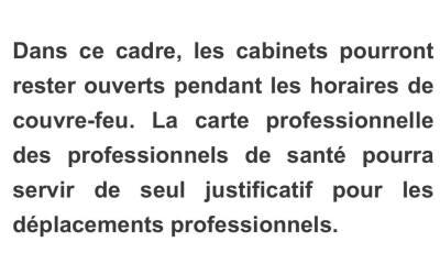 Communiqué du 21-01-2021 : Déplacements Professionnels pendant le couvre feu