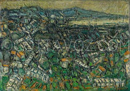 Cottavoz-les-serres-le-matin-1973-116x81-huile sur toile