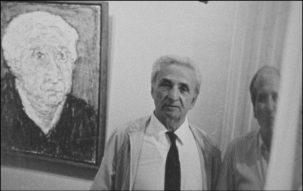 Jacques Zeitoun et Cottavoz devant un portrait de Jacques Galerie Tamenaga - photo p.g.