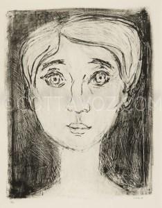 Portrait-de-Muriel - Lithographie Mourlot