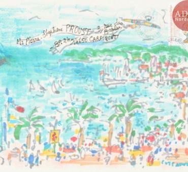 Un feutre sur enveloppe signé André COTTAVOZ en vente le 27 mars à Paris chez Ader-Nordmann.