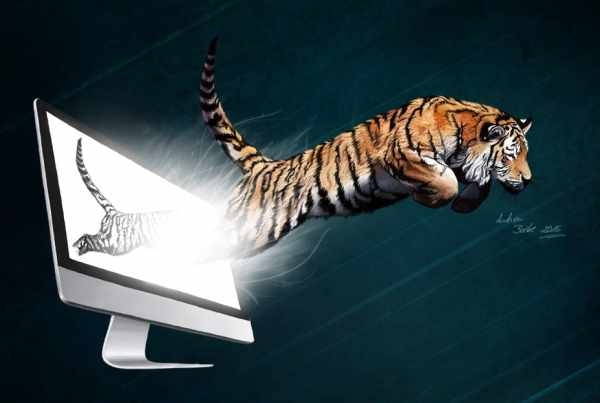 Illustration springender Tiger, Kreativität, Verwirklichung, Digital Painting, Photoshop Painting