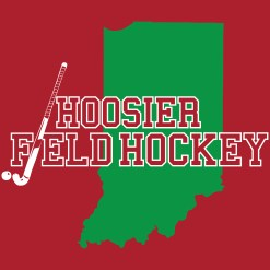 Hoosier Field Hockey logo on red