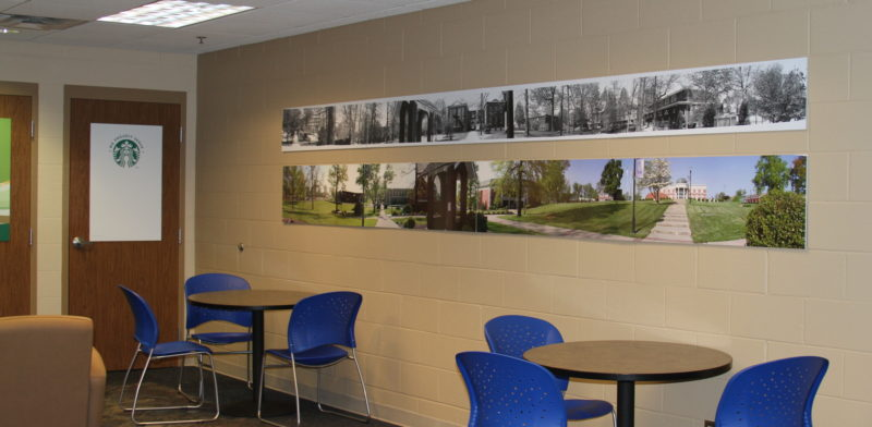 image of ocu panoramas hanging in Holy Grounds