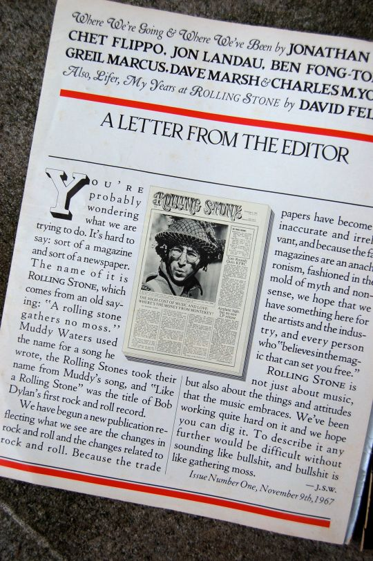 Inside cover: reprint of the editor's letter from the 1967 debut issue of Rolling Stone magazine on andreabadgley.com