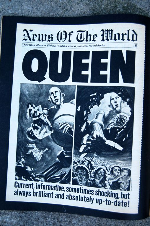 """Ad in Rolling Stone for Queen's """"News of the World"""" album, released October 1977 on andreabadgley.com"""