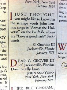 Letter from reader, and response from John and Yoko regarding Beatles lyrics in Rolling Stone, 1977 issue 254, on andreabadgley.com