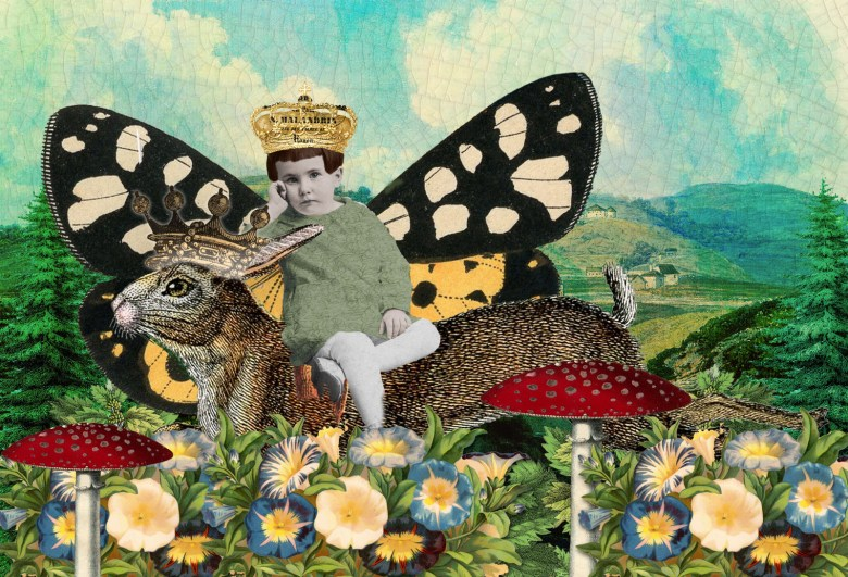 Rabbit King Collage - extracting images, coloring B&W images, masks, layer styles