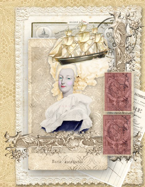 Marie Antionette themed collage - masks, coloring B&W images