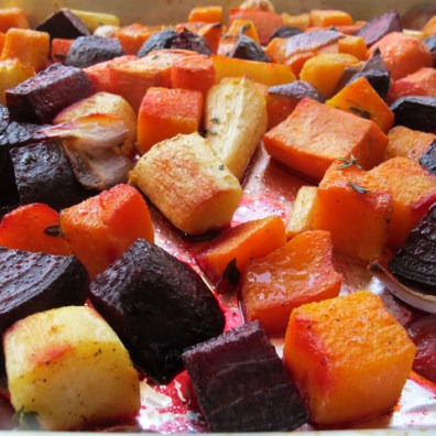 Roasted beets, butternut squash, celeriac, red onions