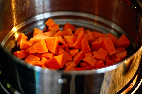 Steamed sweet potato chunks