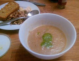 Mushroom and celery soup with coconut and cumin.2