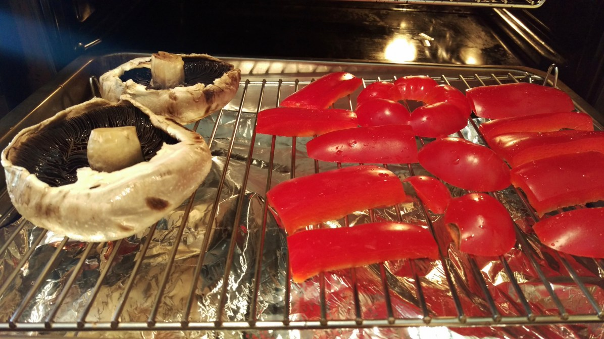 roasting peppers and mushrooms